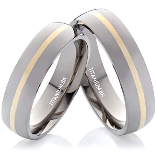 Eheringe Verlobungsringe Trauringe aus Titan und Gold Unisex Gratis Lasergravur TG075