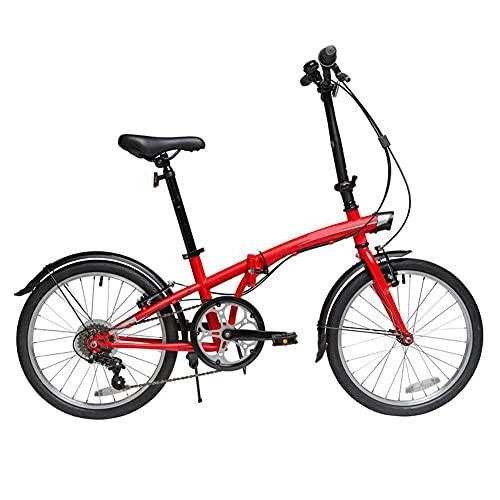 ROYWY Bicicleta Plegable para Adultos, 20 Pulgadas Bike Sport Adventure - Bicicleta para Joven, Mujer Mountain Bike, Aluminio, Unisex Adulto -B/Red / 20inch