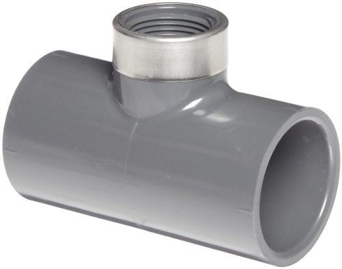 Spears 859-BR Series PVC Pipe Fitting Union with Viton O-Ring 1 Socket x Brass NPT Female 1 Socket x Brass NPT Female Spears Manufacturing 859-010BR Schedule 80 Gray