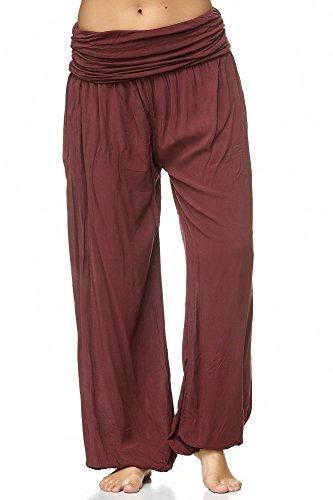Zarlena - Pantalón bombacho para mujer, talla única, disponible en muchos colores, borgoña, Talla única