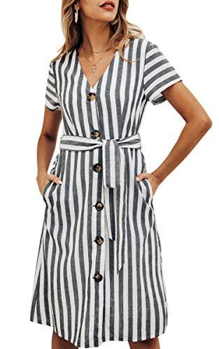 Spec4Y Damen Gestreift Kleider Knöpfen V Ausschnitt Kurzarm Sommerkleider Knielang Casual Strandkleid mit Gürtel Schwarz M