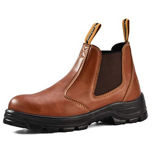 Botas de Seguridad Hombre Chelsea Sin Cortones CE S3-8025BR Zapatos de Seguridad con Puntera de Acero Impermeables(Marrón,EU42)