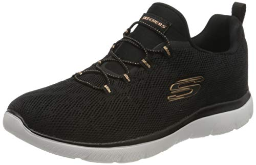Skechers Summits Leopard Spot, Zapatillas Mujer, Black Mesh/Rose Gold Trim, 41 EU