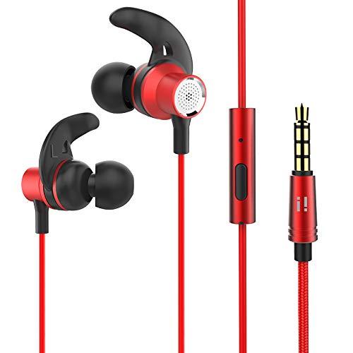 [i!®] Comfort Sport In Ear Hoofdtelefoon Oortelefoon Headset | 3,5 mm jack AUX stekker | Microfoon | Fitness | Jogging rood