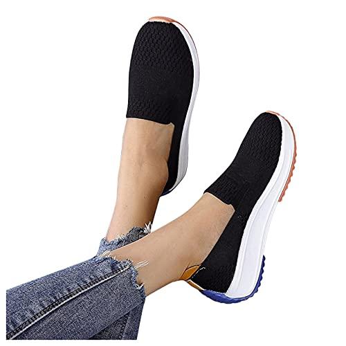 Briskorry Zapatillas deportivas para mujer, cómodas, transpirables, de malla, con cordones, para el tiempo libre, para el gimnasio, cómodas, con suela suave
