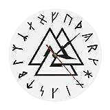 Reloj de Pared Valknut Odin Símbolo Vikingo Runas Script Reloj de Pared Moderno Vikingo Brújula nórdica Vikingos Runa Odins Reloj de Pared Simple Decoración del hogar