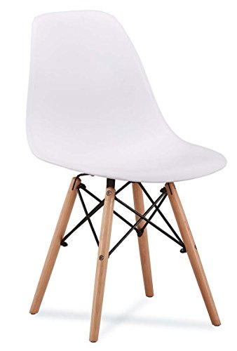 ZOLTA Retro Design Stuhl Blau Esszimmerstuhl Skandinavisch Kunststoff 46 x 50 x 82 cm (Weiß, 1)