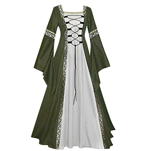 VEKDONE Women Renaissance Medieval Costume Dress Plus Size Irish Over Long Dresses Cosplay Retro Gown(Green,XXXXX-Large)
