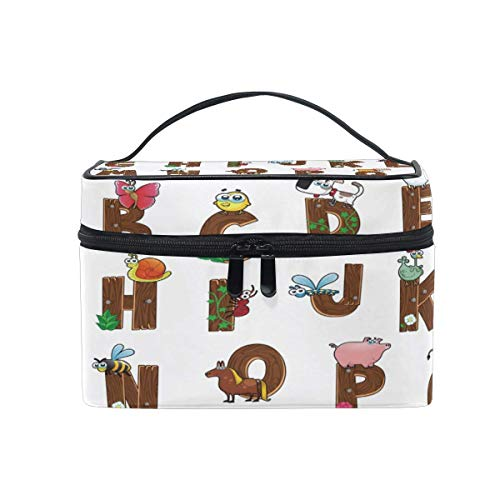 Travel Cosmetic Bag Alphabet Animal Dog Pig Cow Toiletry Makeup Bag Pouch Tote Case Organizer Storage Tools Jewelry for Women Girls