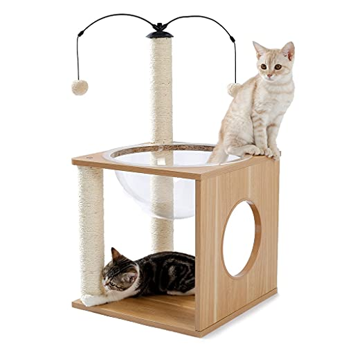 YLHXYPP Cats Tree Space Capsule Elegant Activity Small Cats Tree with Floating Nest Hanging Balls