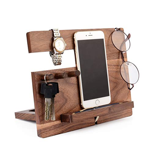 Phone Docking Station for iPhone, for Cell Phone, Wood - Desk Organizer for Phone, Watch, Glasses, Wallet, Coins, Ring - Desk Accessories for Men Gift - Phone Holder, Charging Stand (Black Walnut)