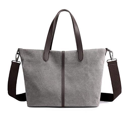 Confortabil Bolso de lona para mujer, bolso de lona para mujer, bolso de compras, bolso de lona de moda (gris, 39 x 25 x 12 cm)