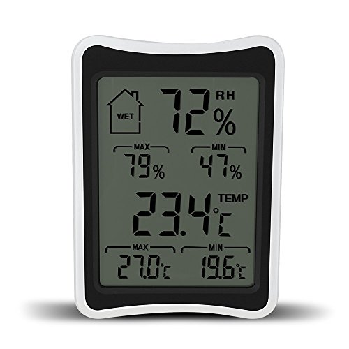 9Nine Humidity Gauge, Indoor Thermometer, Humidity Monitor Digital Hygrometer Display Indicator for House Bedroom Office Baby Room