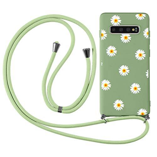 ZhuoFan Funda con Cuerda para Huawei Honor 8X [6.5'] Verde Dibujos Carcasa de Silicona Suave Case con Colgante Cordon Colgar Correa de Cuello - Largo 160cm, Anti-rasguños Bumper Cover