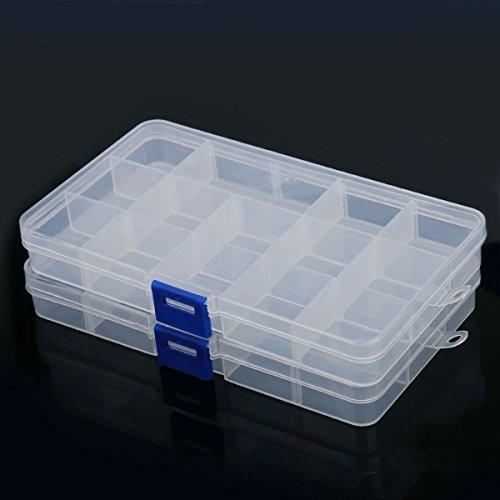 Plastic Components Storage Cases Boxes 15 Slots Detachable (2pcs)