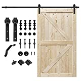 S&Z TOPHAND 46 in. x 84 in. Unfinished British Brace Knotty Barn Door with 8FT Sliding Door Hardware Kit/Solid Wood/Sliding Door/Double Surfaces/A Simple Assembly is Required (46, Door+J Shape)