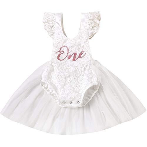 BriskyM Vestido de tutú de 1er cumpleaños para bebés, manga voladora, encaje, ganchillo, Wild One, mameluco de tul, trajes de mono (blanco, 12-18 Months)