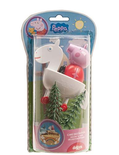 COOLMP Set di 3 decorazioni per torta Peppa Pig, 9 cm, taglia unica, decorazione e accessori per feste, Animazione, Compleanno, Matrimonio, Piccolo Giocattolo, Pallone