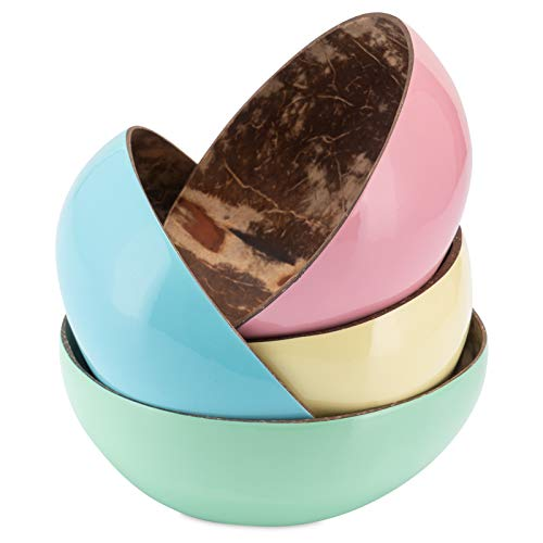 Decorasian Schalen aus echter Kokosnuss - Coconut Bowl - Kokosschale innen poliert, außen dekorativ lackiert - 4er Set gelb, blau, rosa, Mint