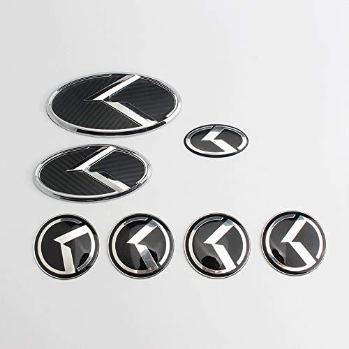 QQJK Logo Emblema para Cuerpo ABS Letras Sticker Hub Cap Rueda Hub Cubierta Ornamento, Cubierta del cubo de rueda para Kia Sorento K5 K3 K2 K4, fibra de carbono plata