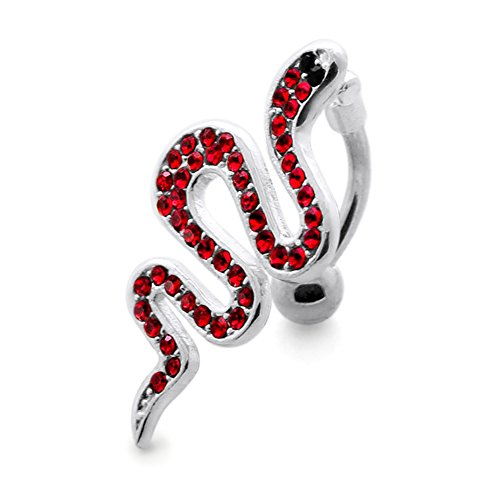 Red Crystal Stein Trendy Snake Design Sterling Silber Bauch Bars Piercing