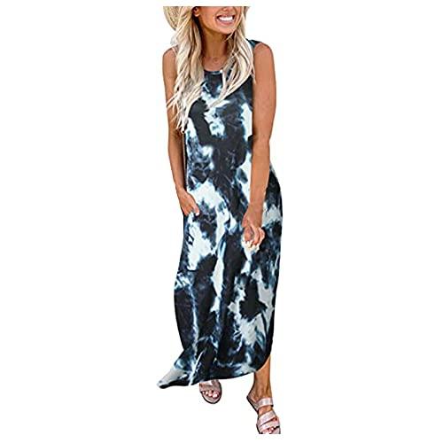 Zzbeans Vestido largo de verano para mujer, con degradado de color, estampado, sin mangas, para la playa, con abertura, Mujer, Negro , small