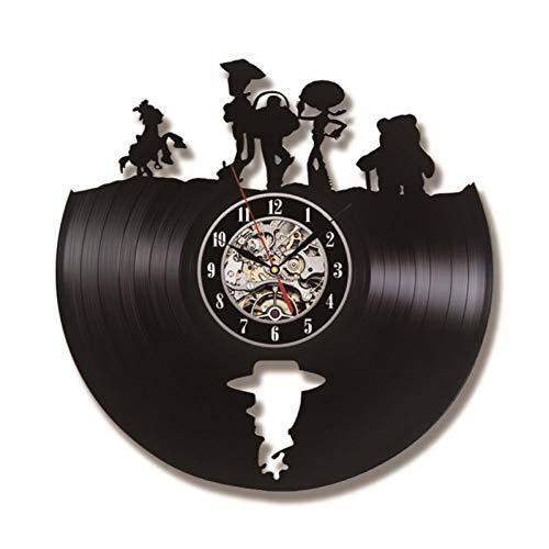 YAZCC Toy Story Hohl LED Vinyl Wanduhr Schallplatte LP Schallplatte Lasergeätzte 3D Wanduhr Ausgeschnittene Uhr Schatten Kunst Wand Geschenk Für Kinder