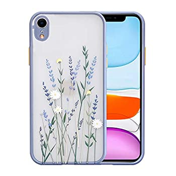 Ownest Compatible with iPhone XR Case for Clear Frosted PC Back 3D Floral Girls Woman and Soft TPU Bumper Protective Silicone Slim Shockproof Case for iPhone XR-Purple Lavender