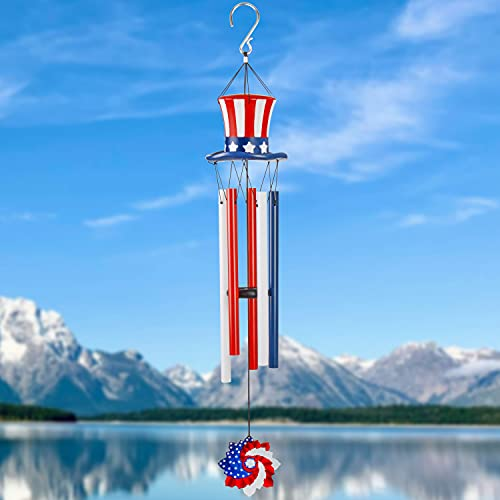 PartyGears 4th of july decor Decorations Outdoor Wind Chimes Wind Bell Romantic Memorial Wind Chimes for Outside, Uncle Sam Hat Colored Tubes Best Gift for Home Decor Garden Patio Outdoor(4th of july)