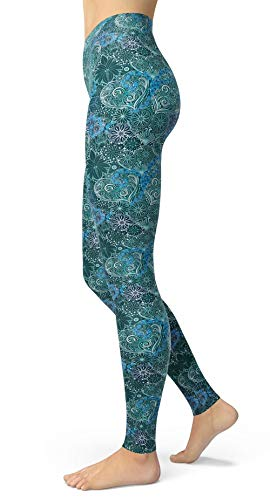 Women's Vintage Floral Printed Leggings Buttery Soft Ankle Length Tights (Hearts Flowers, One Size(XS-L/Size 0-12))