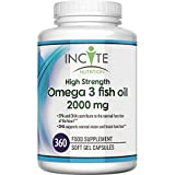 Omega 3 Fish Oil 360 Soft Gels - 2000mg per serving   High Levels of EPA & DHA   Premium Easy Swallow Omega3 Fish Oils Gel Capsules Made In Britain by Incite Nutrition