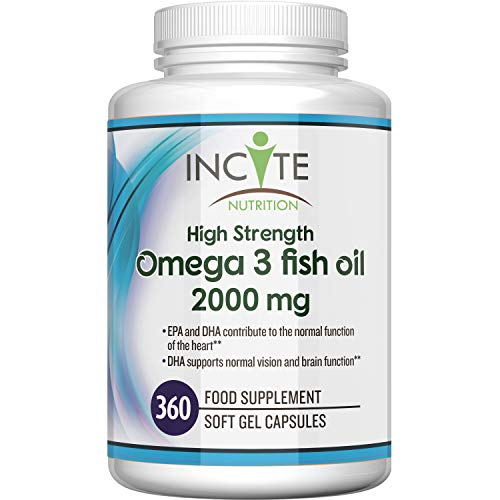 Omega 3 Fish Oil 360 Soft Gels - 2000mg per serving | High Levels of EPA & DHA | Premium Easy Swallow Omega3 Fish Oils Gel Capsules Made In Britain by Incite Nutrition