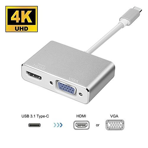 USB C To HDMI 4K VGA Adapter, HuDieM USB 3.1 Type C USB-C to VGA HDMI Video Converters Adaptor for 2017/2016 Macbook/ Chromebook Pixel/ Lenovo 900/ Dell XPS/ Samsung Galaxy S8/S8 Plus, Silver