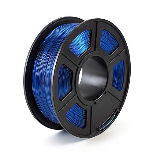CROSYO 1pc PETG Silver 1.75mm 3D Printer Filament 1kg/2.2lbs Plastic Material For FDM 3D Printer (Color : Transparent Blue)