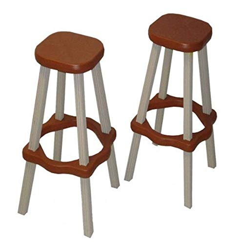 Big Sale Best Cheap Deals Leisure Accents Barstool Set (2/Carton), Redwood/Beige, 26 Inches Tall