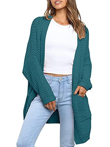 ASPOL Las mujeres de manga larga abierta frente de punto chaqueta de punto de color sólido Pocketed Slouchy suéter Outwear, verde oscuro, S