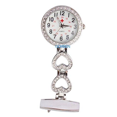 Gorben silberne Taschenuhr mit Clip-Befestigung, Kristall-Herz-Design, Uhr mit Aufbewahrungsbeutel, für Sanitäter, Krankenschwestern