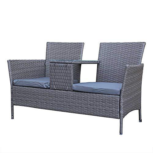 AIRWAVE Poly Rattan Love Seat Garden Companion Seat with Table - Patio Outdoor Garden Furniture