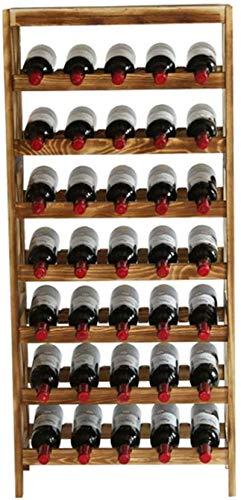 Elegante Botellero, Vino Bastidores grande de pie, de madera de almacenamiento del armario sostenedor del soporte estantes de exhibición, 7 Nivel, 35 Capacidad de la botella, 54 × 26 × 120 cm (Color: