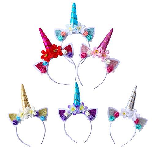 Colmanda 6Stück Einhorn Haarband Horn Haarreif Einhorn Stirnband Haarreif Mit Unicorn Horn Haarschmuck Kopfschmuck Headband mit Ohren für Weihnachten Ostern Geburtstag Kindergeburtstag, Halloween (1)