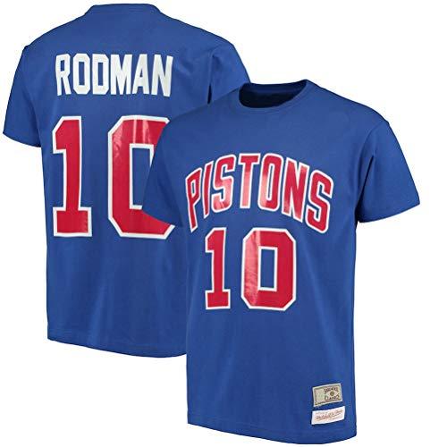 LSJ-ZZ T-Shirt da Uomo di Pallacanestro Vestiti NBA Detroit Pistons # 10 Dennis Rodman Retro Girocollo jeysey, Fitness Sports Superiore Respirabile,XXXL:185~190cm