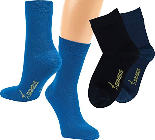 RS. Harmony Kinder Socken aus Bambus, verstärkte Belastungszonen, extra weich auf der Haut, atmungsaktiv, für Jungs und Jugendliche   marine, jeans, dunkelblau   35-38   6 Paar
