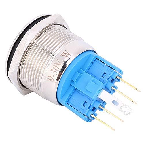Jopwkuin Tamaño pequeño Nivel de protección IP65 Anillo de fácil instalación Botón de reinicio Interruptor de botón de reinicio con Nivel de protección Ip65(Blanco, Rosado)