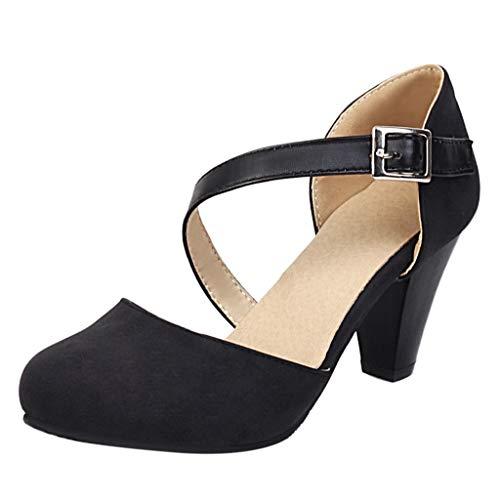 Luckycat Zapatos Profesional Piel Negro Punta Tacón Terciopelo Zapatos de Tacón para Mujer Zapatilla de Trabajo Zapatos Mujer Tacón Salón Elegantes Fiesta Boda