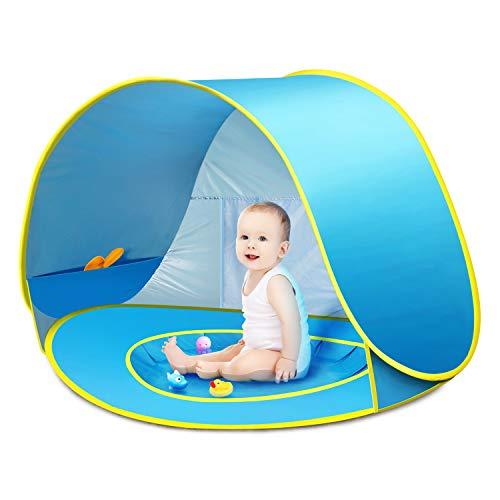 CeeKii Tienda Playa Bebe, Pop-up Tienda de bebé con Piscina para Infantil Carpa Plegable Portátil Protección Solar Anti UV 50, Tienda Campaña Playa para Bebés para Vacación Playa Parque - Azul