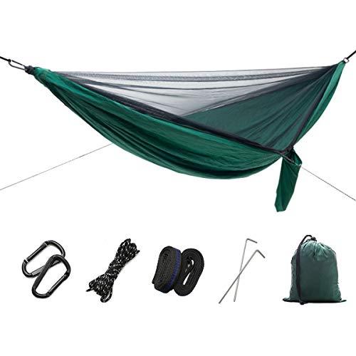 DTNO.I Hamac de Camping avec moustiquaire, Ultra léger, Portable et Double Parachute de Voyage avec Sangles d'arbre pour randonnée, Camping, Jardin, Plage