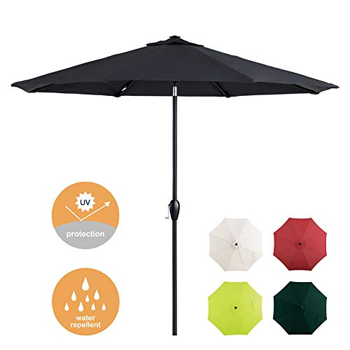 Tempera 9ft Patio Umbrella with Auto-Tilt and Crank Outdoor Market Table Umbrella with 8 Sturdy Ribs, Space Grey