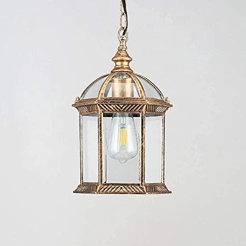 MADBLR7 Lámparas Colgantes de Techo Vintage para Exteriores, luz de Linterna Colgante Impermeable IP65, Pantalla de lámpara Colgante Retro, Luces Exteriores de Aluminio de Vidrio para Porche, balcón,
