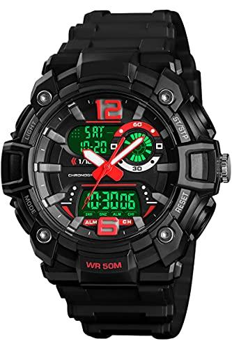 Herren Militär Uhr Analog Digitaluhr Outdoor Laufen Sportuhr 5 ATM Wasserdicht LED Alarm Stoppuhr Armbanduhr