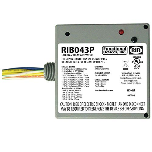 Functional Devices RIB043P Power Relay, 20 Amp 3PST-N/O, 480 Vac Coil, NEMA 1 Housing